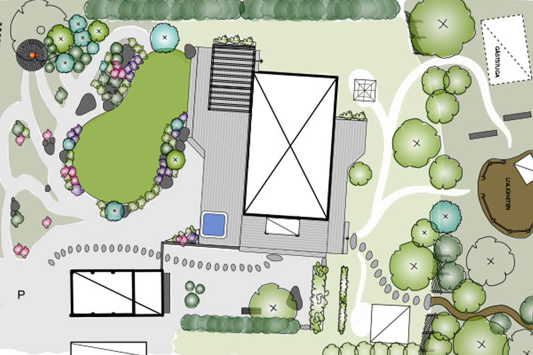 Trädgårdsdesign ritning