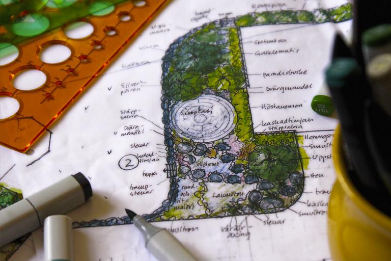 trädgårdsritning trädgårdsdesign